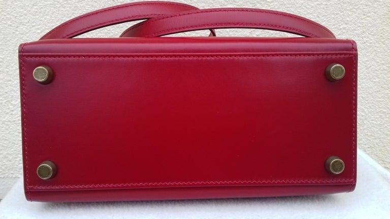 Hermès Vintage Mini Kelly Sellier Bag Red Box Leather Ghw 20 cm For Sale 7