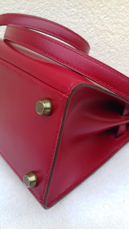 Hermès Vintage Mini Kelly Sellier Bag Red Box Leather Ghw 20 cm For Sale 8