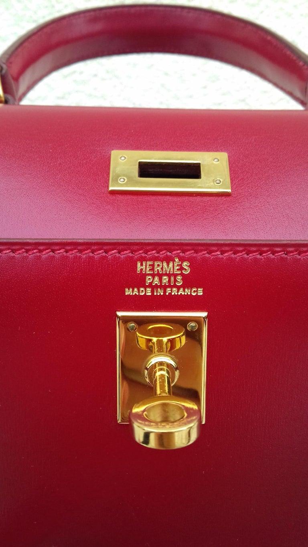 Hermès Vintage Mini Kelly Sellier Bag Red Box Leather Ghw 20 cm For Sale 9
