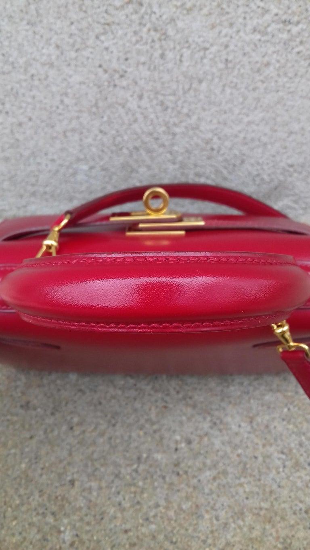 Hermès Vintage Mini Kelly Sellier Bag Red Box Leather Ghw 20 cm For Sale 12