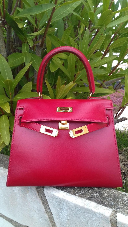 Hermès Vintage Mini Kelly Sellier Bag Red Box Leather Ghw 20 cm For Sale 13