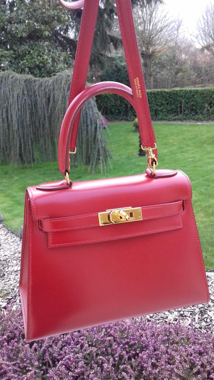 Hermès Vintage Mini Kelly Sellier Bag Red Box Leather Ghw 20 cm For Sale 15