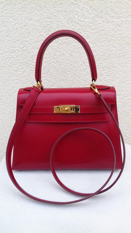 Hermès Vintage Mini Kelly Sellier Bag Red Box Leather Ghw 20 cm For Sale