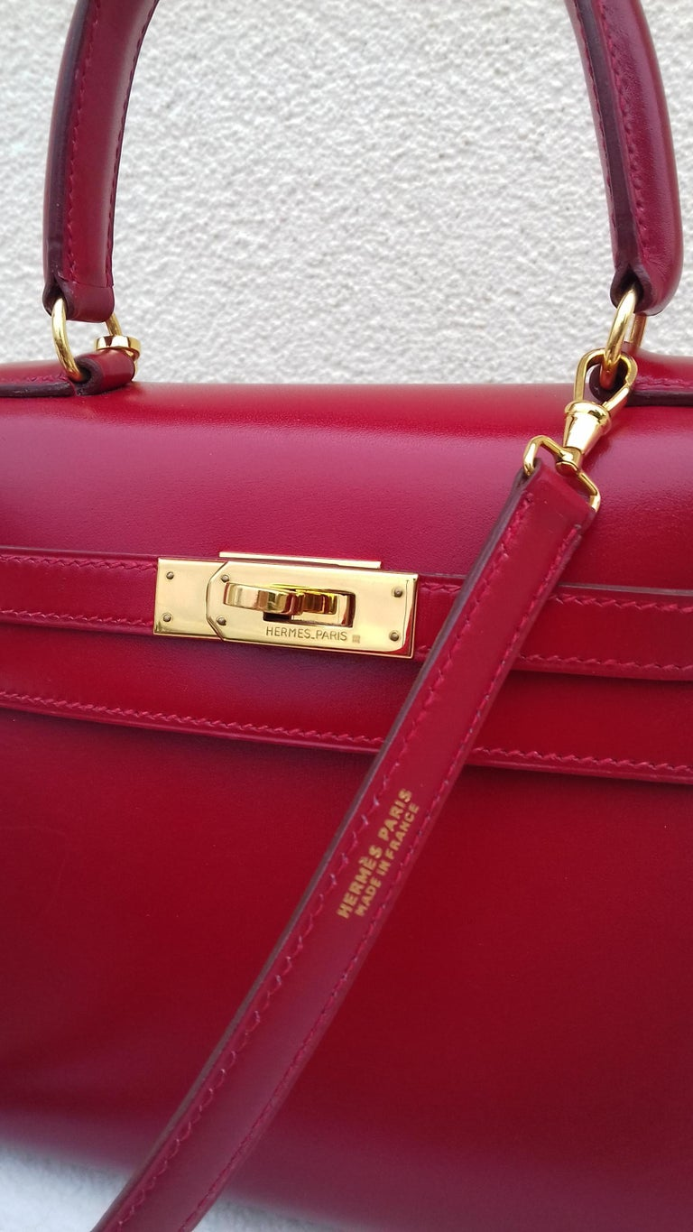 Hermès Vintage Mini Kelly Sellier Bag Red Box Leather Ghw 20 cm In Good Condition For Sale In ., FR