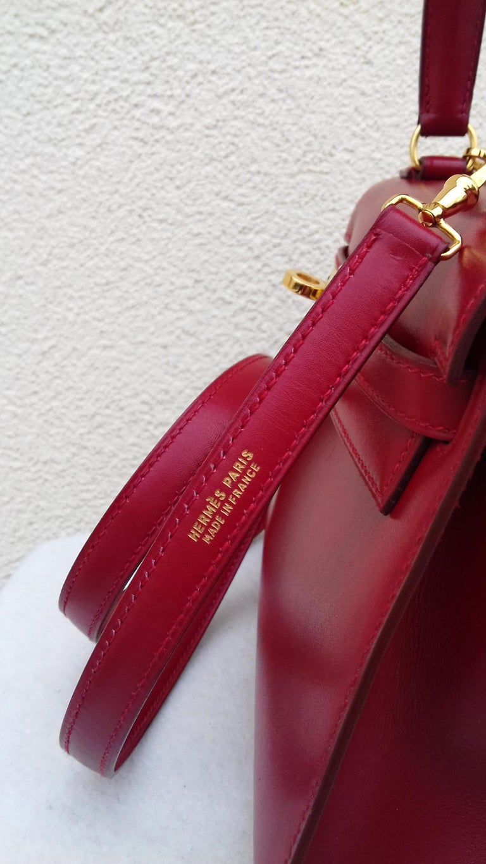Hermès Vintage Mini Kelly Sellier Bag Red Box Leather Ghw 20 cm For Sale 1