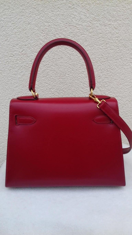 d2ded5df1563 Hermès Vintage Mini Kelly Sellier Bag Red Box Leather Ghw 20 cm For Sale 2