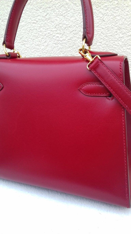 Hermès Vintage Mini Kelly Sellier Bag Red Box Leather Ghw 20 cm For Sale 3