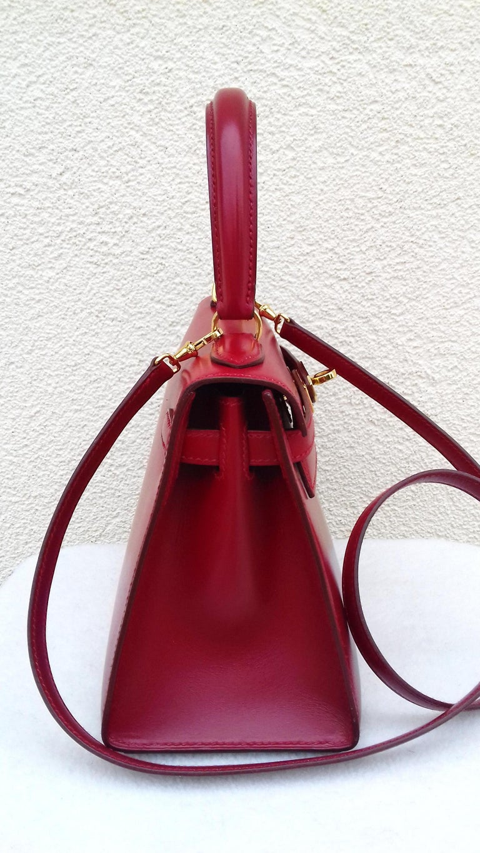Hermès Vintage Mini Kelly Sellier Bag Red Box Leather Ghw 20 cm For Sale 4