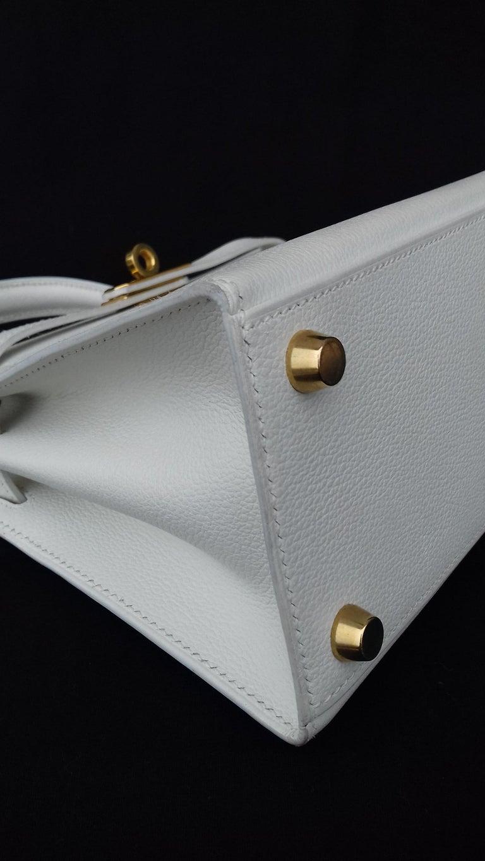 Hermès Vintage Mini Kelly Sellier White Leather Ghw 3 ways 20 cm For Sale 6
