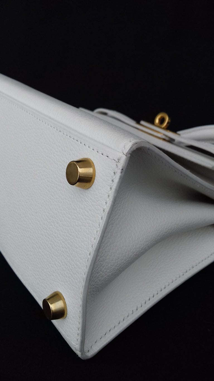 Hermès Vintage Mini Kelly Sellier White Leather Ghw 3 ways 20 cm For Sale 7