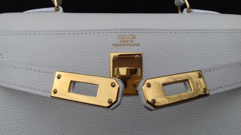 Hermès Vintage Mini Kelly Sellier White Leather Ghw 3 ways 20 cm For Sale 8
