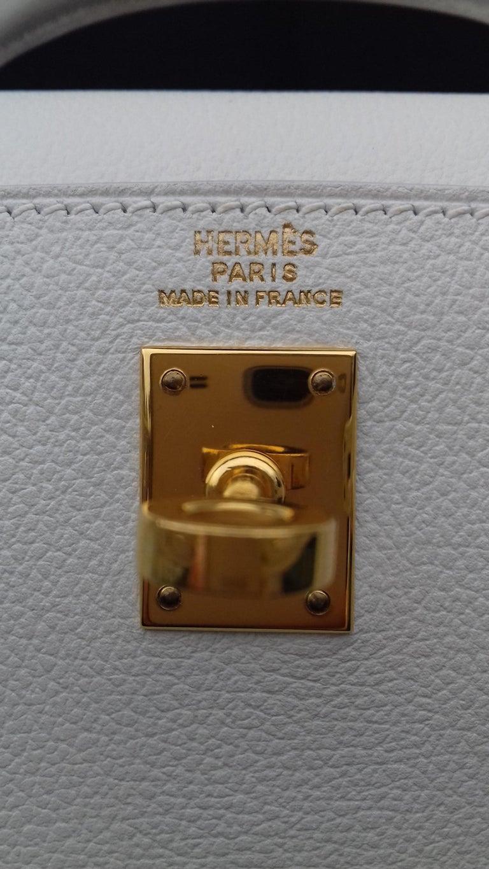 Hermès Vintage Mini Kelly Sellier White Leather Ghw 3 ways 20 cm For Sale 9
