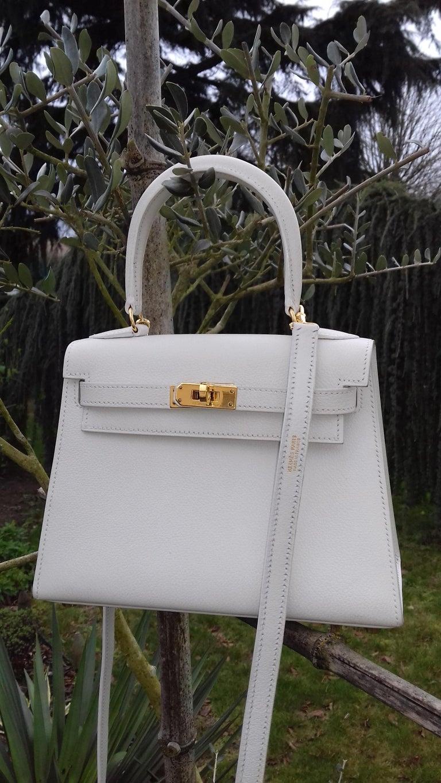 Hermès Vintage Mini Kelly Sellier White Leather Ghw 3 ways 20 cm For Sale 10