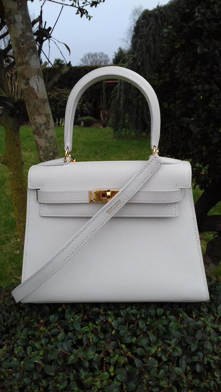 Hermès Vintage Mini Kelly Sellier White Leather Ghw 3 ways 20 cm For Sale 11