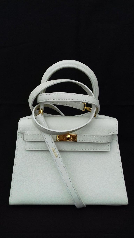 Gray Hermès Vintage Mini Kelly Sellier White Leather Ghw 3 ways 20 cm For Sale