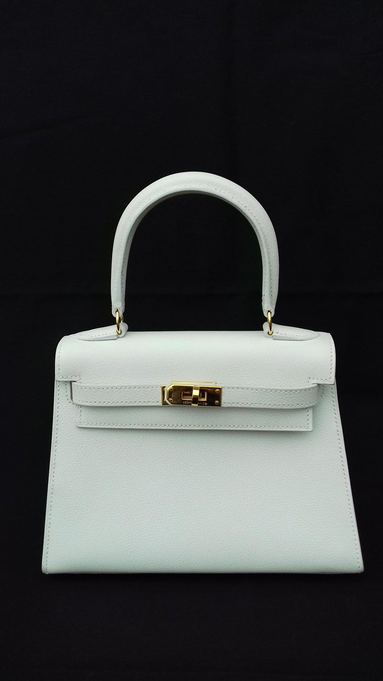 Hermès Vintage Mini Kelly Sellier White Leather Ghw 3 ways 20 cm In Excellent Condition For Sale In ., FR