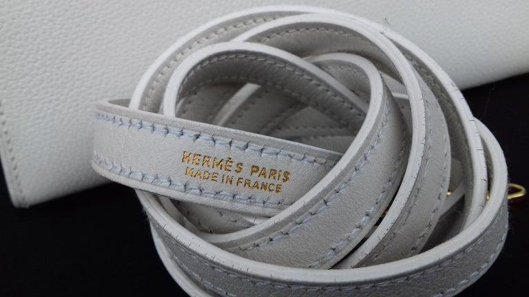 Hermès Vintage Mini Kelly Sellier White Leather Ghw 3 ways 20 cm For Sale 1