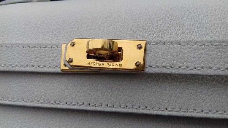 Hermès Vintage Mini Kelly Sellier White Leather Ghw 3 ways 20 cm For Sale 2
