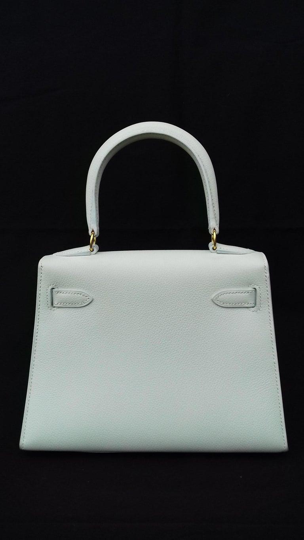 Hermès Vintage Mini Kelly Sellier White Leather Ghw 3 ways 20 cm For Sale 3