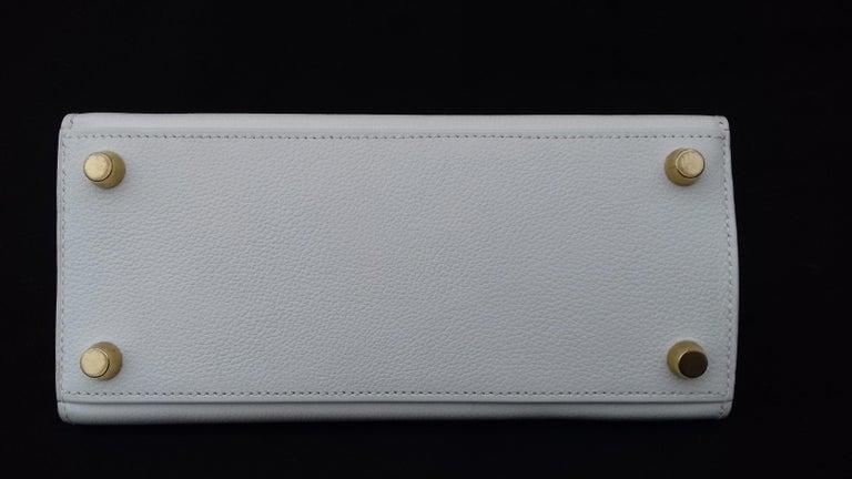 Hermès Vintage Mini Kelly Sellier White Leather Ghw 3 ways 20 cm For Sale 4