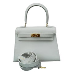 Hermès Vintage Mini Kelly Sellier White Leather Ghw 3 ways 20 cm