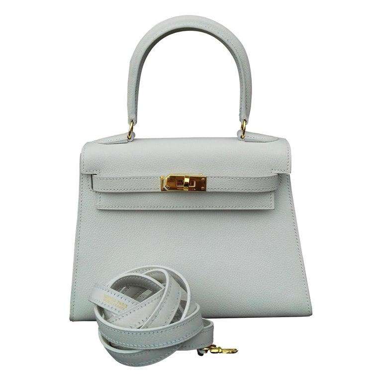 Hermès Vintage Mini Kelly Sellier White Leather Ghw 3 ways 20 cm For Sale