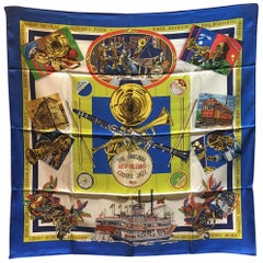 Hermes Vintage New Orleans Creole Jazz Silk Scarf in Blue c1990s