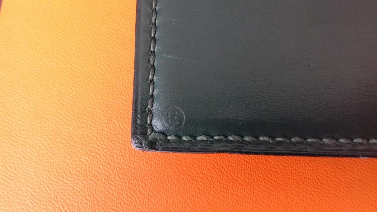 Hermès Vintage Notepad Cover / Holder in Green Box Leather For Sale 5