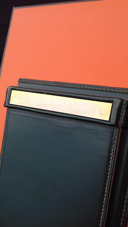 Orange Hermès Vintage Notepad Cover / Holder in Green Box Leather For Sale