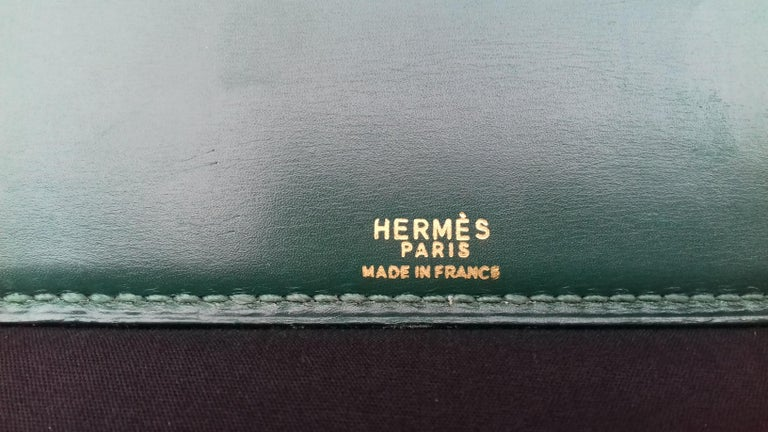 Hermès Vintage Notepad Cover / Holder in Green Box Leather For Sale 2