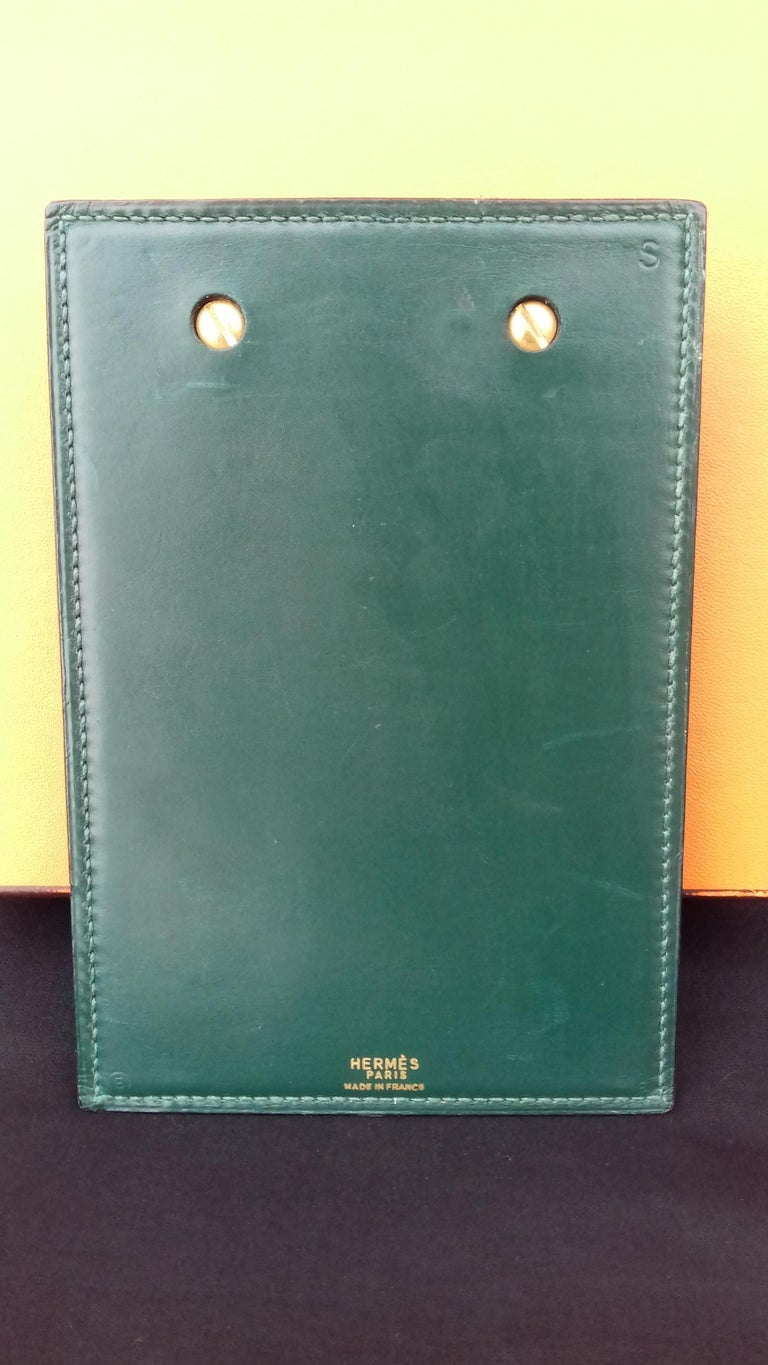 Hermès Vintage Notepad Cover / Holder in Green Box Leather For Sale 3