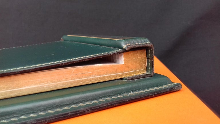 Hermès Vintage Notepad Cover / Holder in Green Box Leather For Sale 4
