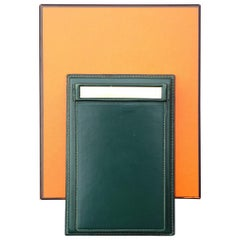Hermès Vintage Notepad Cover / Holder in Green Box Leather