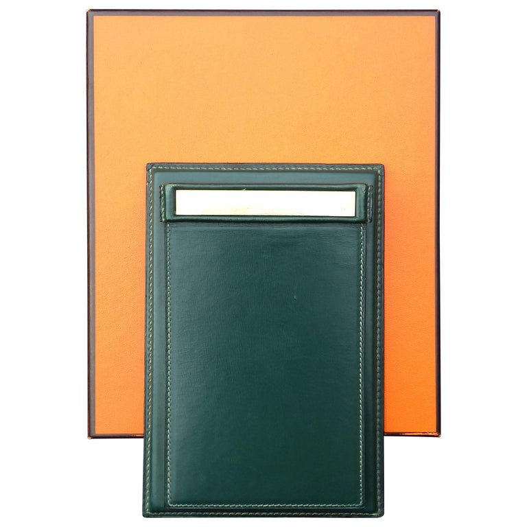 Hermès Vintage Notepad Cover / Holder in Green Box Leather For Sale