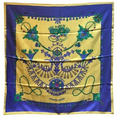 Hermes Vintage Parures des Sables Silk Scarf in Blue and Yellow