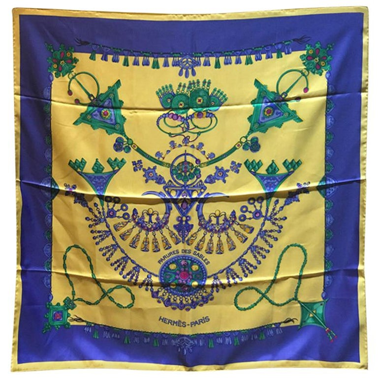 Hermes Vintage Parures des Sables Silk Scarf in Blue and Yellow For Sale