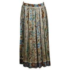 Hermes Vintage Pavement Print Pleated Silk Skirt