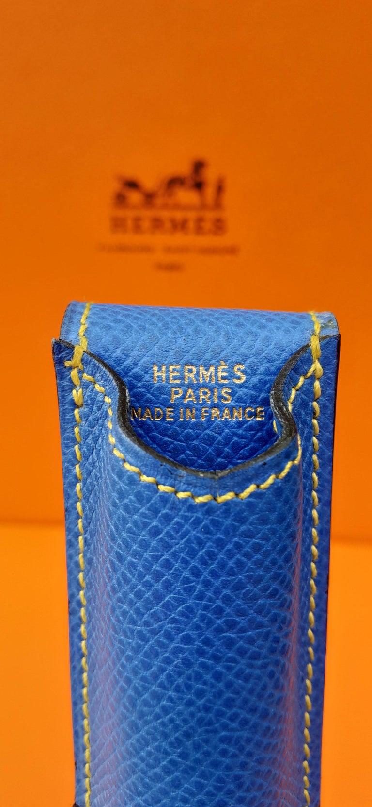Hermès Vintage Pencil Pen Case Courchevel Leather Blue Yellow RARE For Sale 7