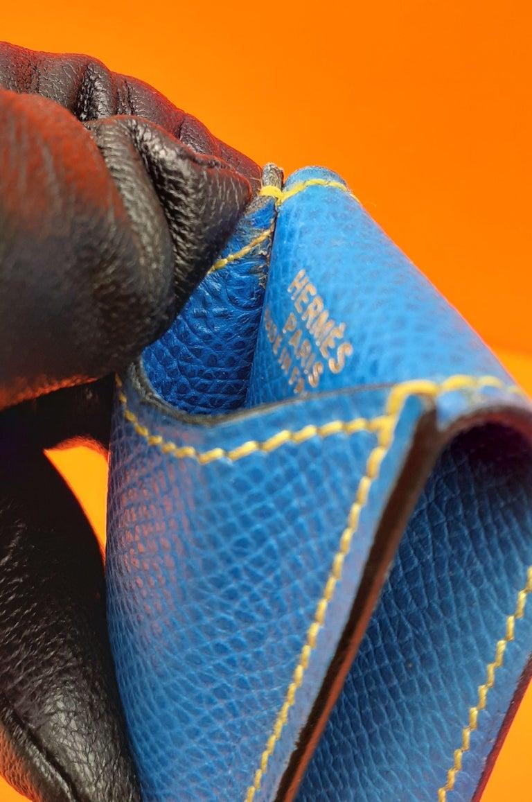 Hermès Vintage Pencil Pen Case Courchevel Leather Blue Yellow RARE For Sale 8