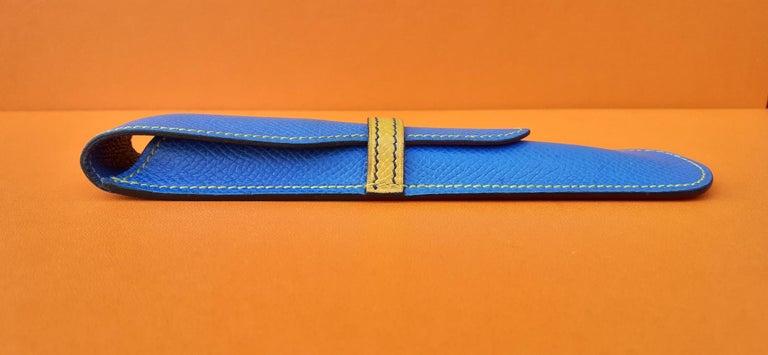 Hermès Vintage Pencil Pen Case Courchevel Leather Blue Yellow RARE For Sale 1