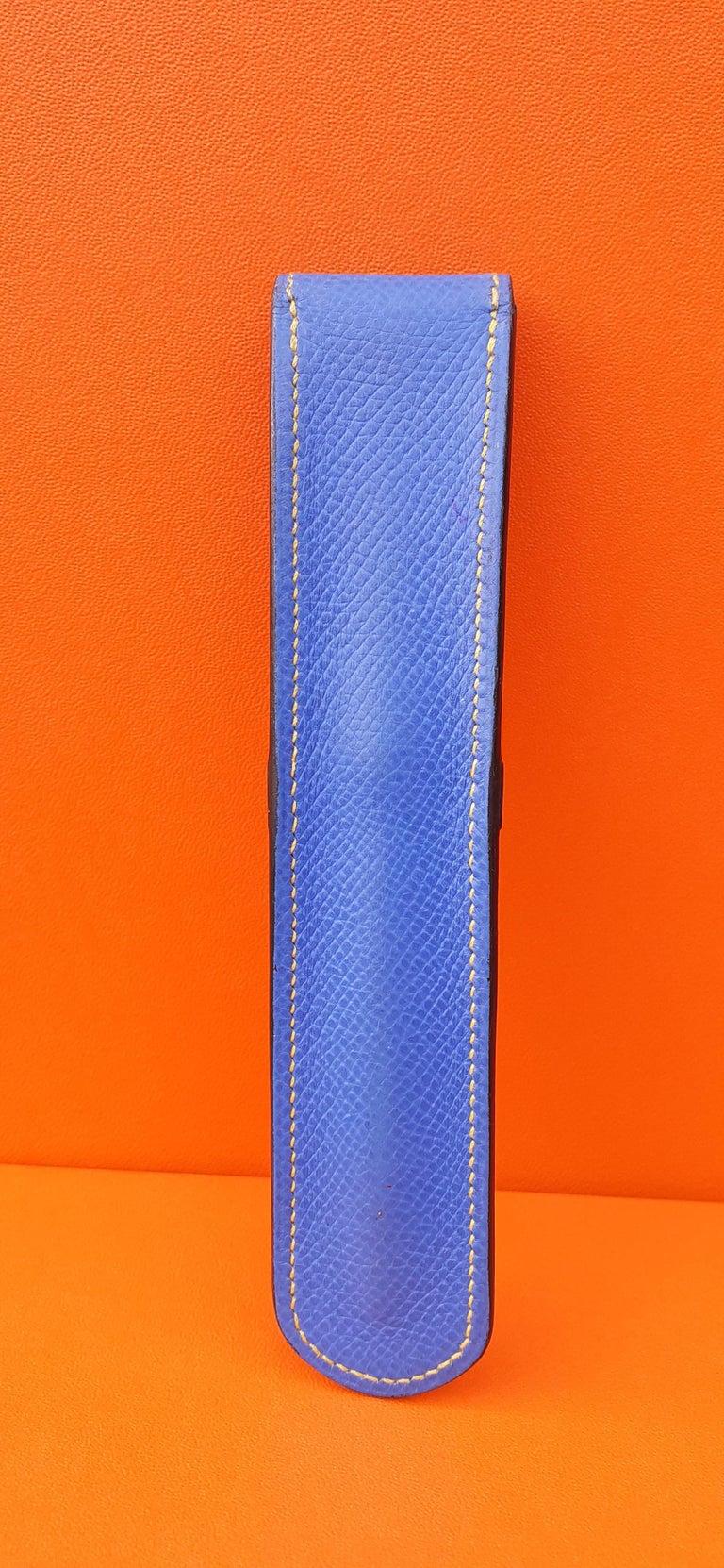 Hermès Vintage Pencil Pen Case Courchevel Leather Blue Yellow RARE For Sale 3