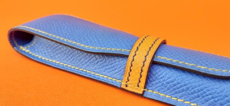 Hermès Vintage Pencil Pen Case Courchevel Leather Blue Yellow RARE For Sale 4