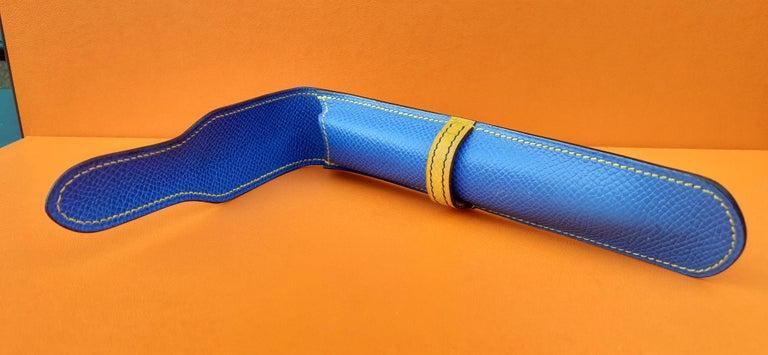 Hermès Vintage Pencil Pen Case Courchevel Leather Blue Yellow RARE For Sale 5