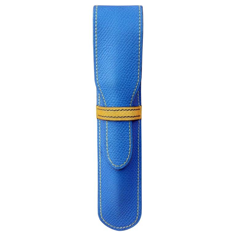 Hermès Vintage Pencil Pen Case Courchevel Leather Blue Yellow RARE For Sale