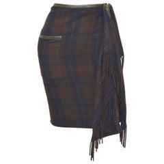 Hermès Vintage Plaid Cashmere Fringe Skirt