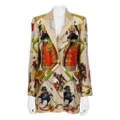 Hermes Vintage Plaza De Toros Bullfighting Silk Blazer