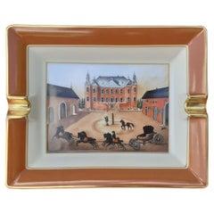 Hermès Vintage Porcelain Ashtray Change Tray Castle and Horses Pattern