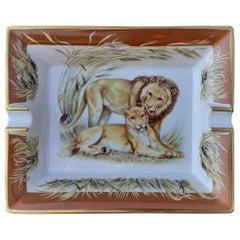 Hermès Vintage Porcelain Ashtray Change Tray Lion and Lioness Pattern