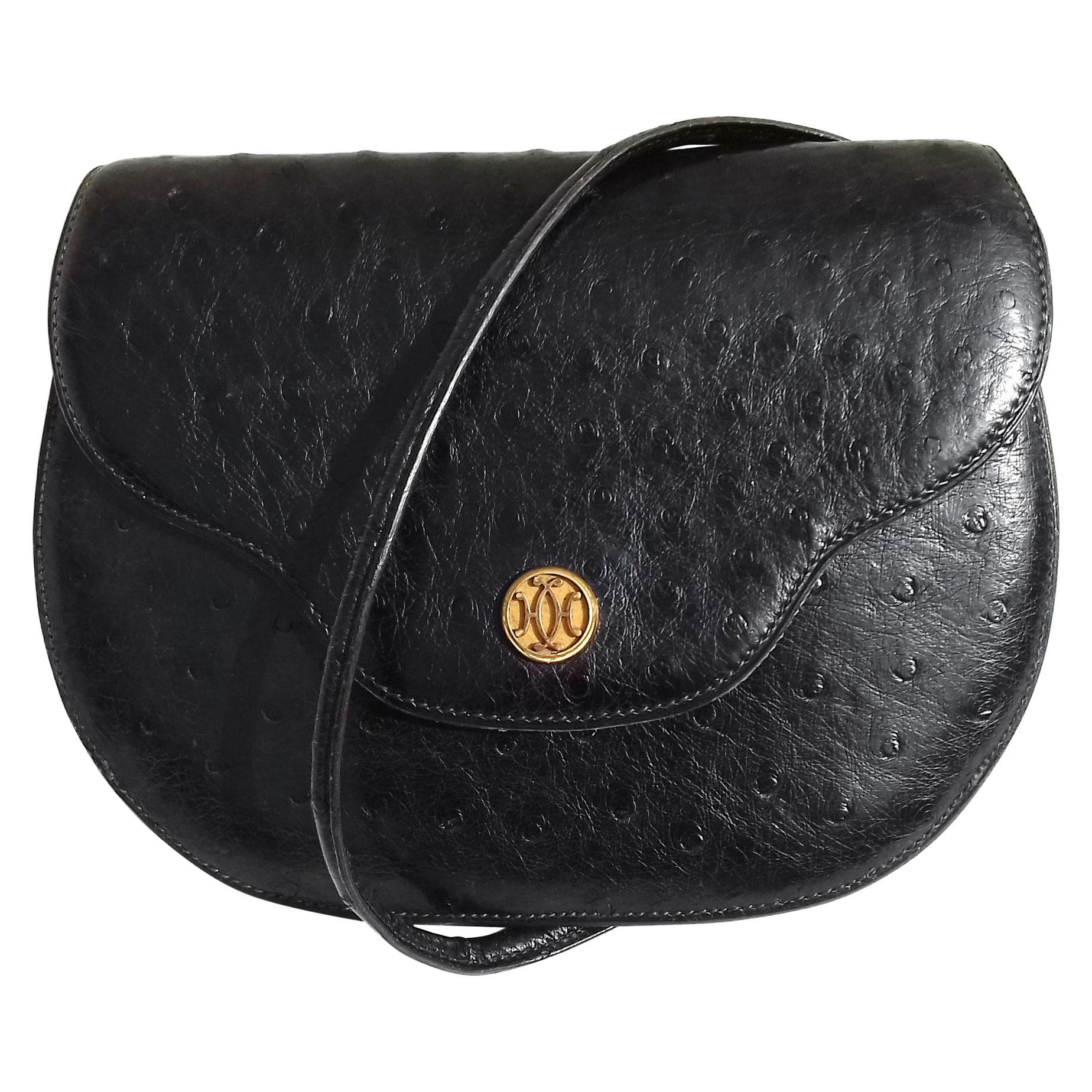 Hermès Vintage Pola Purse Clutch Evening Bag 2 ways Black Ostrich Golden Hdw