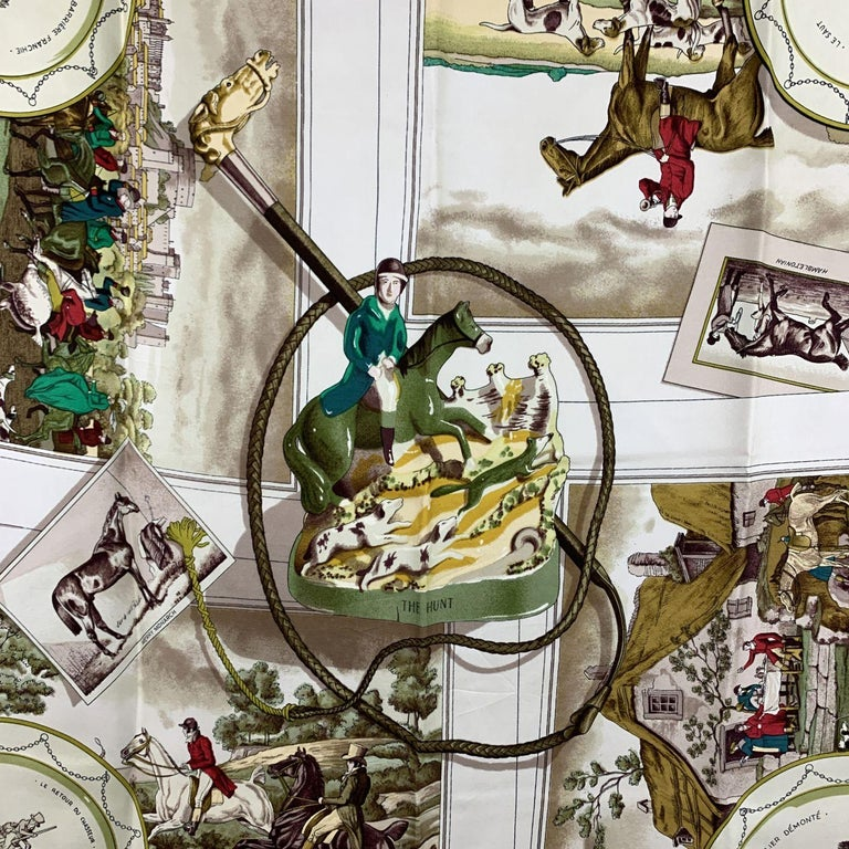 Hermes Vintage Rare Silk Scarf The Hunt 1963 Philippe Ledoux In Fair Condition For Sale In Rome, Rome